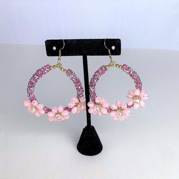 Pink/Blue Sparkling Earrings with Crystals